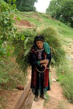 Woman carrying bundle in Ait Bououli