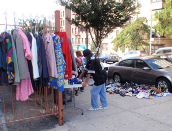 Selling clothes on the sidewalk