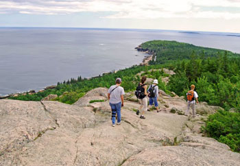 Fellow hikers on their way down the Gorham Mountain Trail