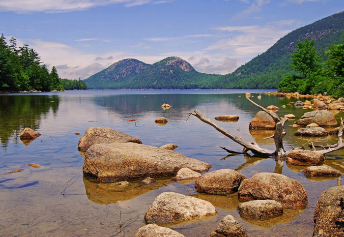 Calm, cool waters of Jordan Pond. This pond is great for canoeing and is surrounded by various hiking trails of the Acadia National Park. Photos by Pinaki Chakraborty