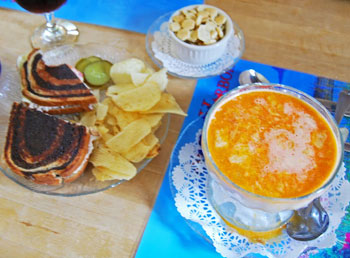Lobster Chowder and Crabmeat Sandwich at Lighthouse Inn and Restaurant in Seal Harbor