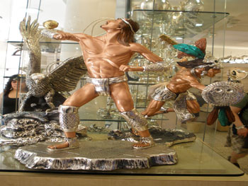 Silver statues for sale in Taxco, Mexico