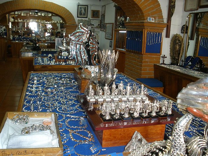 Silver Products on Display in Taxco, Mexico. Photo by Habeeb Salloum.