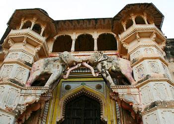 Hathi Pol, the 'Elephant Gate, entrance to the Palace, Bundi, India