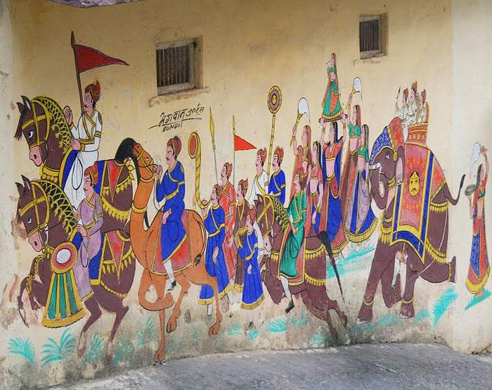 Painting on the walls of the Royal Retreat Hotel, Bundi. Photo by Mridula Dwivedi.