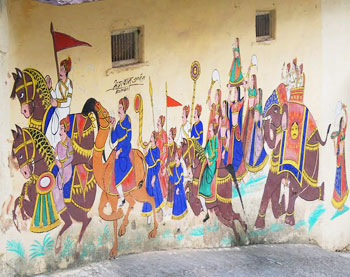 Painting on the walls of the Royal Retreat Hotel, Bundi