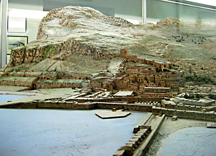 A model of the Rock of Gibraltar at the Gibraltar Museum on Bomb House Road.