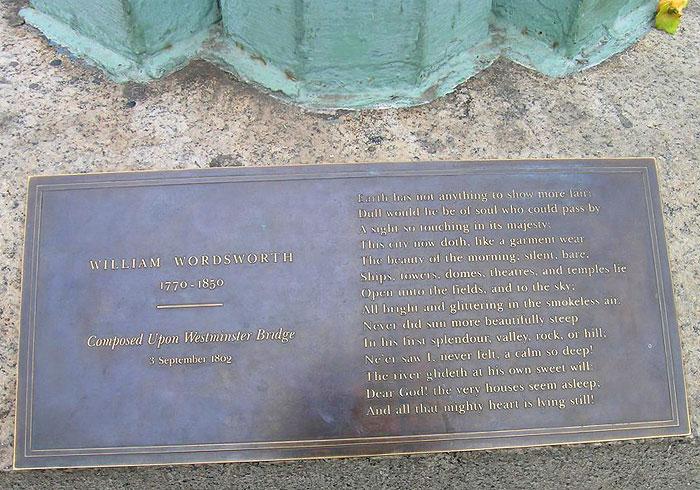 Wordsworth Plaque on Westminster Bridge