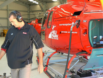 Dion Edgar fueling his Eurocopter in Nelson, New Zealand