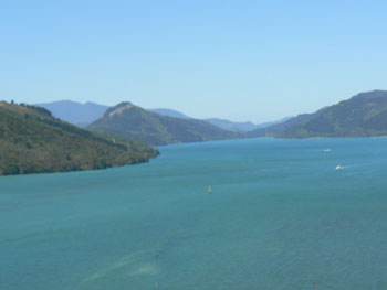 View from the helicopter between Picton and Nelson, New Zealand