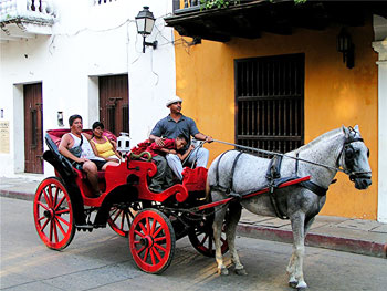 A  horse-drawn wagon in Cartagena, Colombia