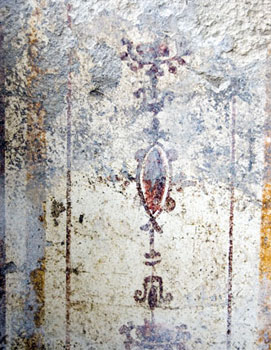 Detail of an affresco decorating one of the rooms of the main area inside the baths