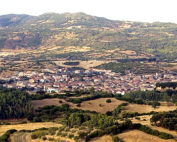 Landscape of Fordongianus seen arriving to the village from a lane off the main motorway 131