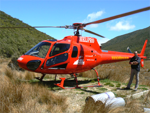 A Eurocopter Squirrel helicopter, at Heaphy Track.