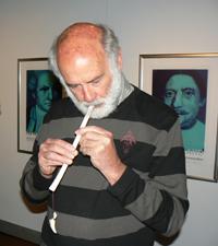 Brian plays a maori flute. photo: Max Hartshorne.