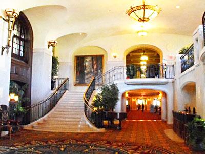 The elegant interior of the historic Fairmont Banff Springs Hotel