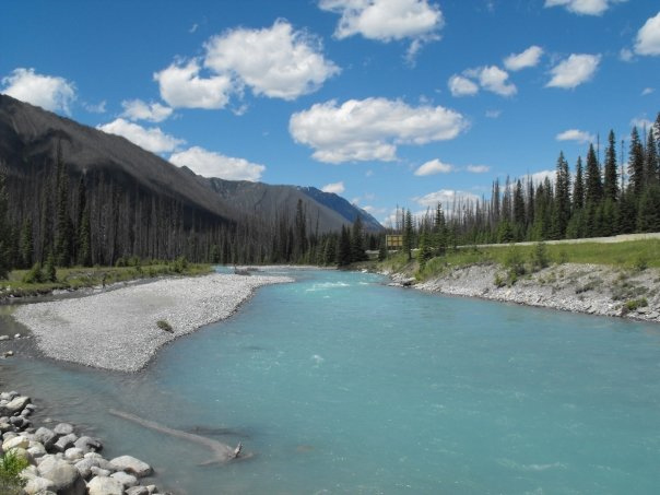The turquoise waters of the ironically-named Vermillon River in Kootenay National Park. photos by Jim Reynoldson.