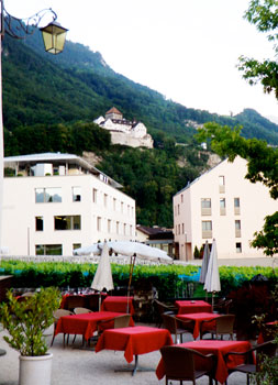 View of Prince Hans-Adam II castle in Vaduz, Liechtenstein.