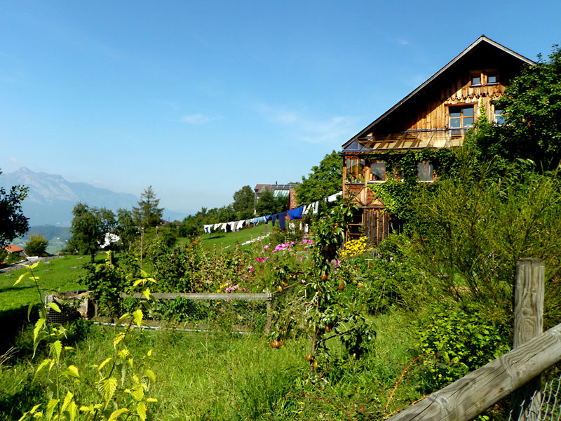 A traditional home in Planken, Liechtenstein, surrounded by beautiful mountain flora