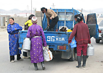 Women at the markets in Khovd, selling their milk from the back of the truck. The goat has the premium seat!