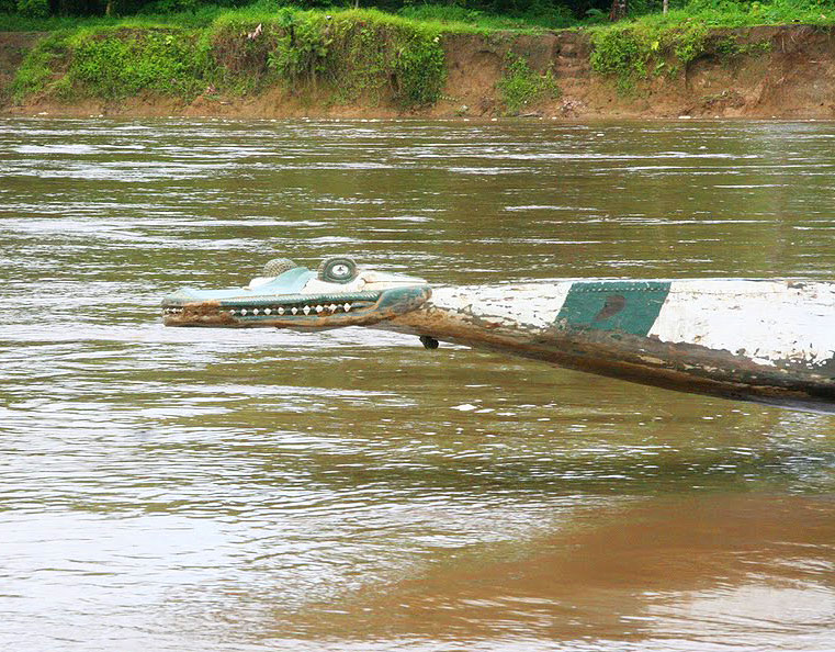 The prow of a crocodile boat in Papua New Guinea
