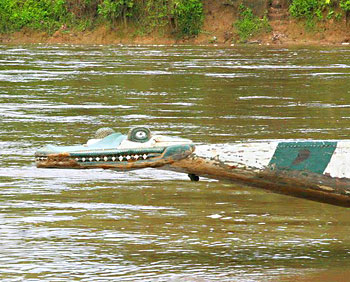 The prow of a crocodile boat
