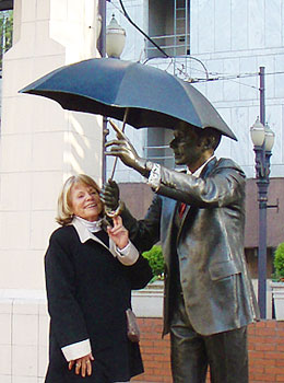 Seward Johnson's sulpture 'Allow Me,' known as 'Umbrella Man' in Pioneer Courthouse Square, Portland