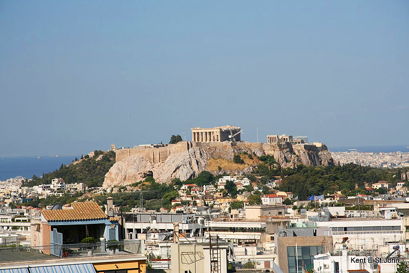 The Acropolis rises above the city.