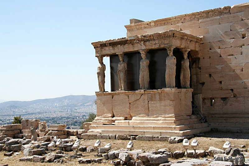 The Porch of the Caryatids at the Erechtheum, a temple on the Acropolis in Athens, Greece. Photos by Kent St. John.