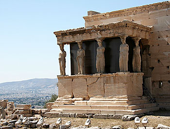 The Porch of the Caryatids at the Erechtheum, a temple on the Acropolis. Photos by Kent St. John