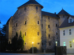 The Frankopan Castle in Ogulin, all lit up for the evening.
