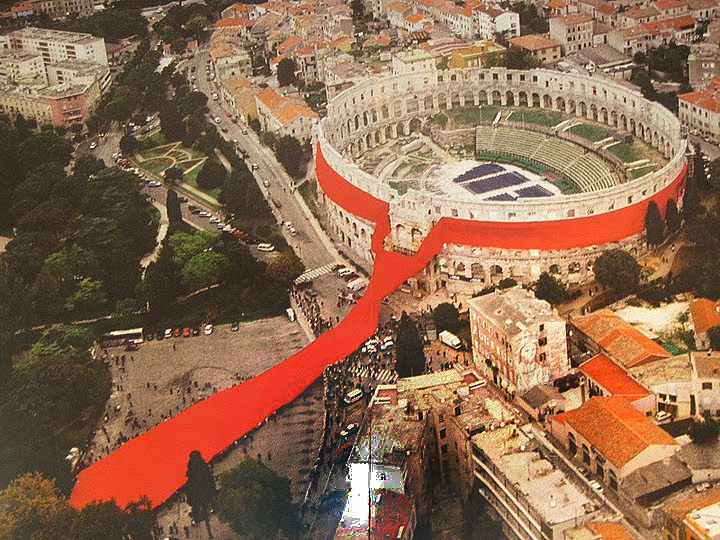 As part of an art show the Croatian Art Society dressed the Arena in a brightly colored Cravat