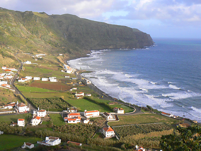 The village of Maia, on the coast of Santa Maria in the Azores