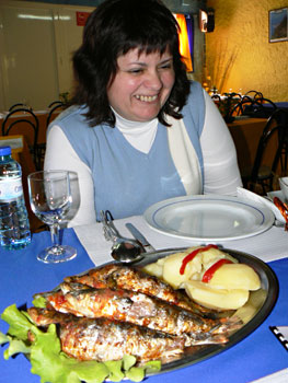 Our tour guide Marta and our lunch of grilled sardines