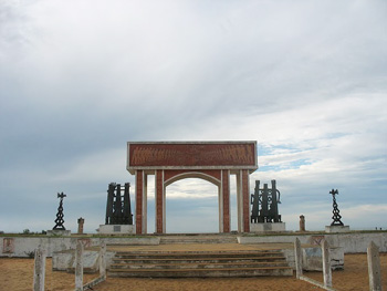 The memorial archway at The Point of no Return, where slaves disappeared into ships, never to return home.