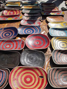 Bowls for sale at the Crafts Market in Moputo, Mozambique.