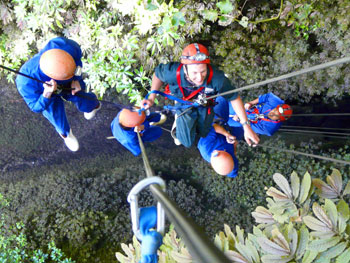 Rapelling at the Waitomo Caves