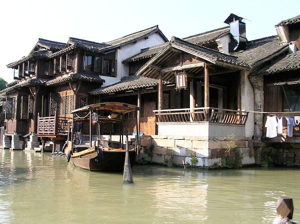 The canals and buildings of Wuzhen, from the harbor. Photo by Shelley Seale.