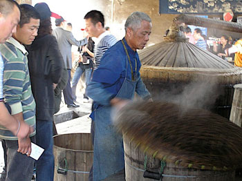 At the Sanbai Wine Workshop, baiju rice wine is made the way it has been for hundreds of years.