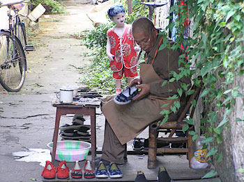 A traditional shoemaker at work