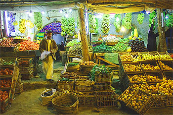 Grocery shopping at night in Siwa town