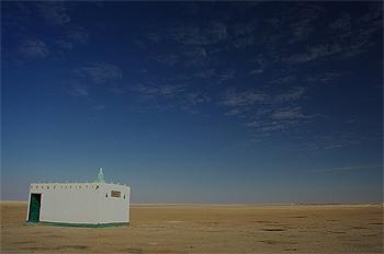 Tiny mosque in the desert.
