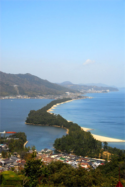 Amanohashidate, a narrow spit of land in Northern Japan.