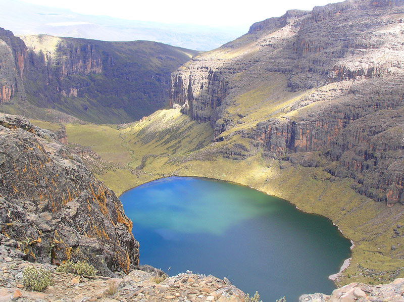 Lake Michaelson from the summit of Mt. Kenya