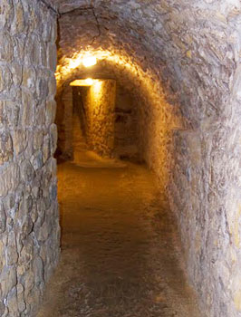 Narrow passage to even more narrow stairs in Casemates