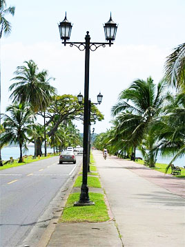 Amador Causeway with its palm-lined biking/walking path in Panama City, Panama. Jeanine Barone photos.