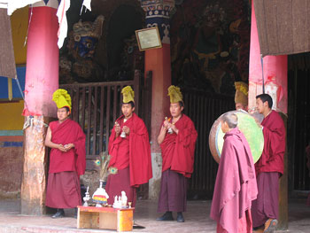 Monks in front of the Samye Monastery in Tibet