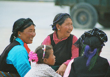 Tibetan women enjoying the children's festival in Shigatse