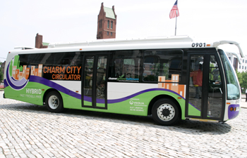 Charm City Circulator offers free bus rides to popular destinations. Photo courtesy of Charm City Circulator.