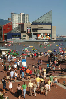 Tourists admire Baltimore's famous Inner Harbor. Photo courtesy of Visit Baltimore.
